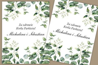 Etykiety samoprzylepne na butelki weselne, ślubne. Delikatny, elegancki wzór z liśćmi eukaliptusa w chłodnym odcieniu zieleni.