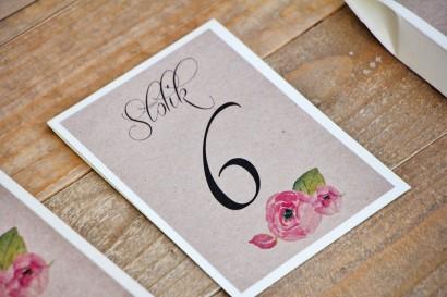 Numery stolików, stół weselny, ślub - Margaret nr 2 - Różowe kwiaty z akcentem zieleni