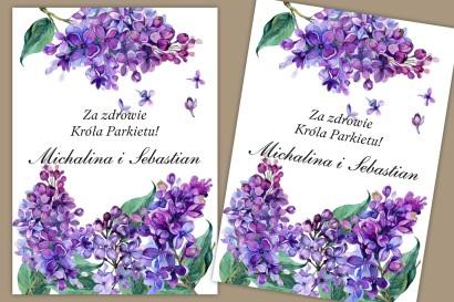 Etykiety samoprzylepne na butelki weselne, ślubne. Wiosenne kwiaty bzu w intensywnym kolorze fioletu.