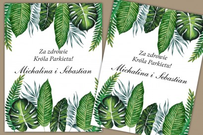 Etykiety samoprzylepne na butelki weselne, ślubne. Oryginalny wzór z intensywnie zielonymi, liśćmi w stylu greenery.
