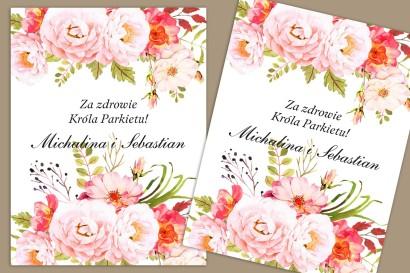 Etykiety samoprzylepne na butelki weselne, ślubne. Kompozycja piwonii i róży w barwach pudrowego różu