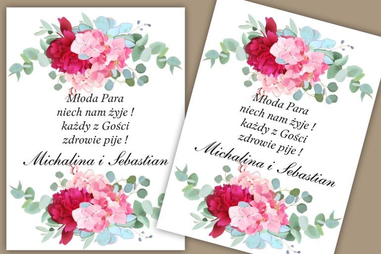 Etykiety samoprzylepne na butelki weselne, ślubne. Nowoczesny wzór kwiatowy z amarantową piwonią i jasnoróżową hortensją