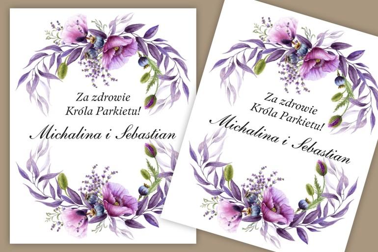 Etykiety samoprzylepne na butelki weselne, ślubne. Grafika z fioletowymi makami i lawendą, w purpurowych odcieniach