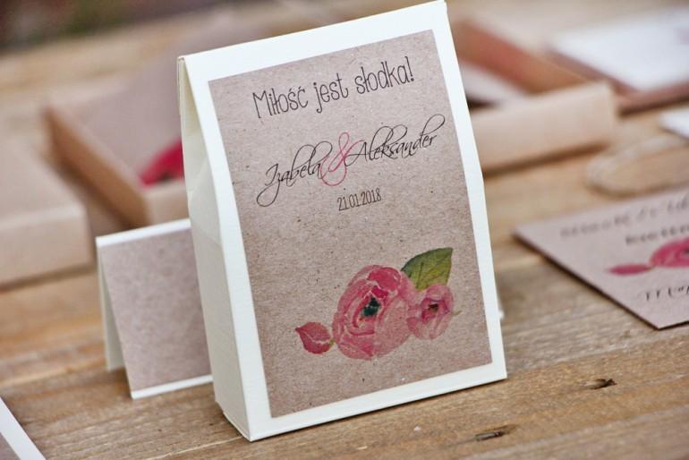 Pudełeczko stojące na cukierki, podziękowania dla Gości weselnych - Margaret nr 2 - Różowe kwiaty z zielenią