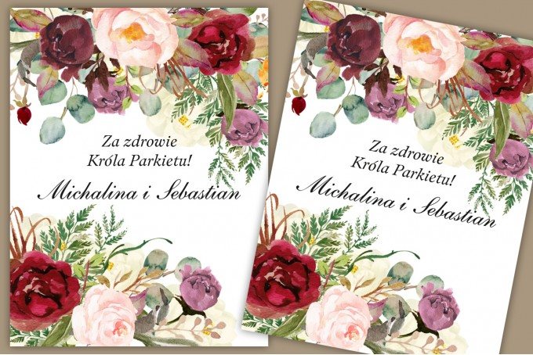 Bordowe, burgundowe, różowe Etykiety samoprzylepne na butelki weselne z różami, paprocią i eukaliptusem.
