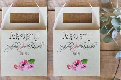 Pudełko na ciasto kwadratowe, tort weselny - Margaret nr 2 - Różowe kwiaty z akcentem zieleni