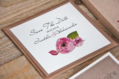 Bilecik Save The Date do zaproszenia ślubnego Margaret nr 2 - Różowe kwiaty z zielenią