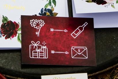 Bilecik ze złoceniem do zaproszeń ślubnych. Grafika akwarelowa w kolorze burgundowym
