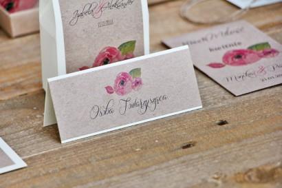 Winietki na stół weselny, ślub -  Margaret nr 2 - Ekologiczne - Różowe kwiaty i zieleń