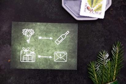 Bilecik ze srebrzeniem do zaproszeń ślubnych. Grafika akwarelowa w kolorze zielonym