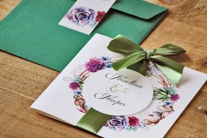 Zaproszenie ślubne z kokardą i kolorową kopertą - Akwarele nr 1 - Kolorowe sukulenty
