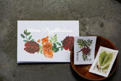Winietki ślubne ze złoceniem, grafika z jarzębiną, bordowymi różami i pomarańczowymi goździkami