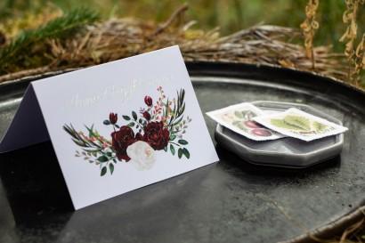 Winietki ślubne ze srebrzeniem, grafika z bordowymi piwoniami z dodatkiem bieli i zieleni