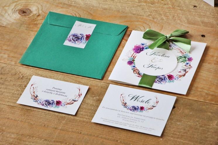 zaproszenia ślubne z sukulentem