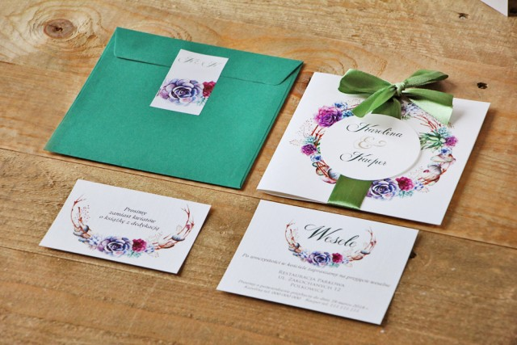 Zaproszenie ślubne z kokardą bileciki RSVP, prezenty - Akwarele nr 1 - Kolorowe sukulenty, fiolet, zieleń
