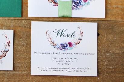 Bilecik do zaproszenia 120 x 98 mm prezenty ślubne wesele - Akwarele nr 1 - Sukulenty, kamyczki