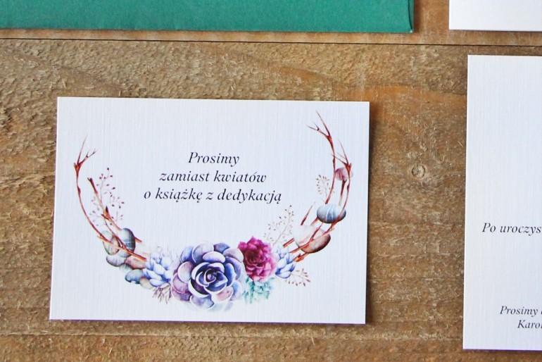 Bilecik do zaproszenia 105 x 74 mm prezenty ślubne wesele - Akwarele nr 1 - Sukulenty, kwiatowe, fiolet