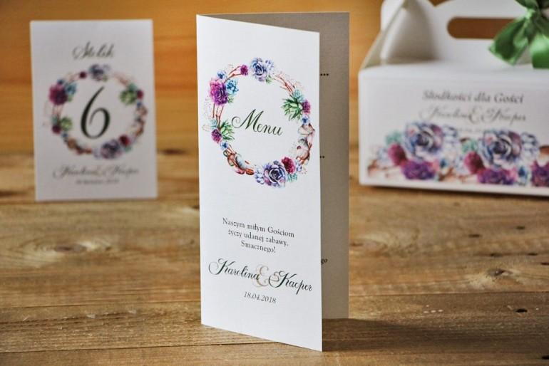Menu weselne, stół weselny - Akwarele nr 1 - Kwiatowe, sukulenty, fiolet