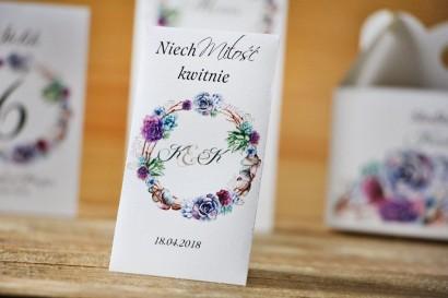 Podziękowania dla Gości weselnych - nasiona Niezapominajki - Akwarele nr 1 - Sukulenty, kwiatowe, fiolet i błękit
