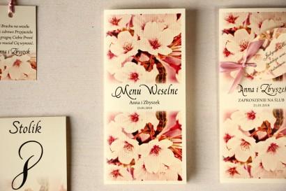 Kwiatowe Menu Weselne, grafika z kwitnącą wiśnią