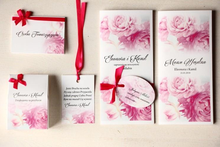 Zestaw próbny zaproszeń ślubnych wraz z winietkami, zawieszkami, menu weselne oraz podziękowania dla gości - Magnet nr 16