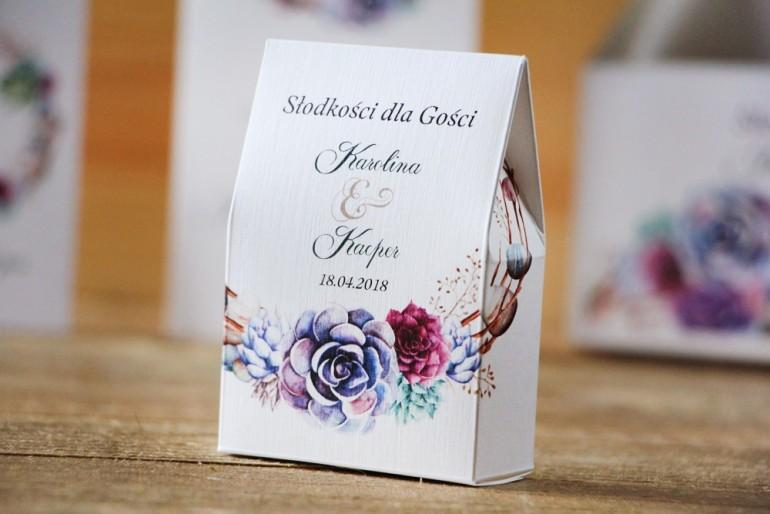 Pudełeczko stojące na cukierki, podziękowania dla Gości weselnych - Akwarele nr 1 - Sukulenty