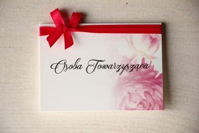 Ślubne Winietki na stół weselny, grafika z różowymi piwoniami