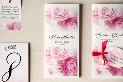 Kwiatowe Menu Weselne, grafika z różowymi piwoniami