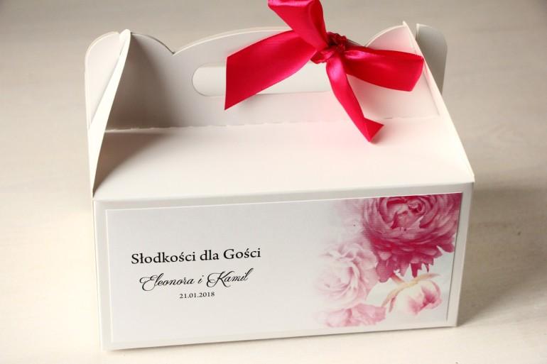 Kwiatowe Pudełko na Ciasto weselne, grafika z różowymi piwoniami