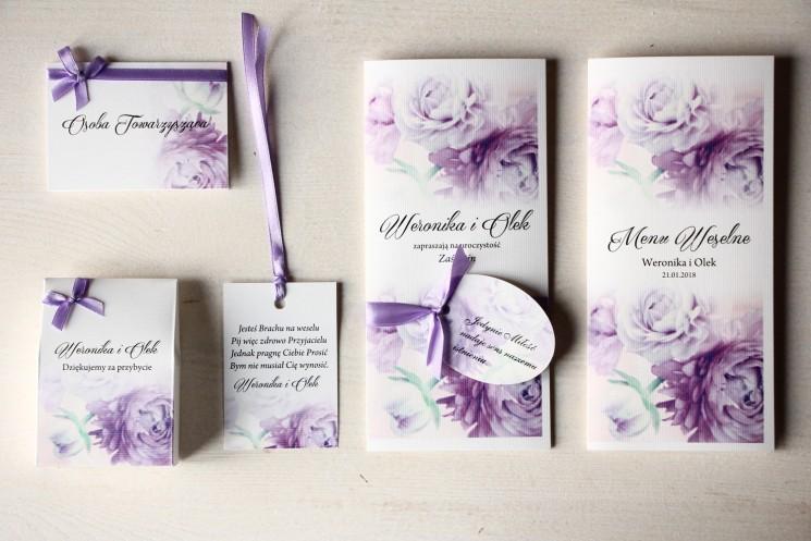 Zestaw próbny zaproszeń ślubnych wraz z winietkami, zawieszkami, menu weselne oraz podziękowania dla gości - Magnet nr 17
