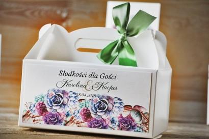 Prostokątne pudełko na ciasto, tort weselny, ślub - Akwarele nr 1 - Kwiatowe, fioletowe sukulenty