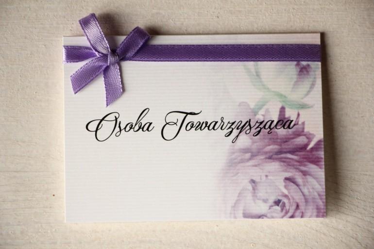 Ślubne Winietki na stół weselny, grafika z fioletowymi piwoniami