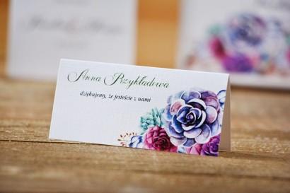 Winietki na stół weselny, ślub - Akwarele nr 1 kwiatowe - Sukulenty
