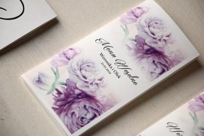 Kwiatowe Menu Weselne, grafika z fioletowymi piwoniami