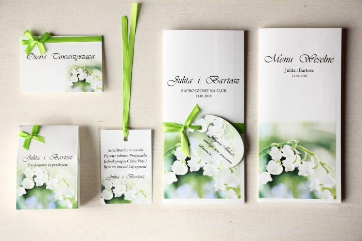 Zestaw próbny zaproszeń ślubnych wraz z winietkami, zawieszkami, menu weselne oraz podziękowania dla gości - Magnet nr 11