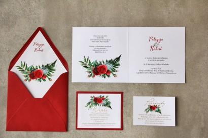 Zaproszenia ślubne ze złoceniem oraz czerwonymi różami i leśną paprocią. Złote zaproszenia ślubne - Cykade nr 2 Wnętrze