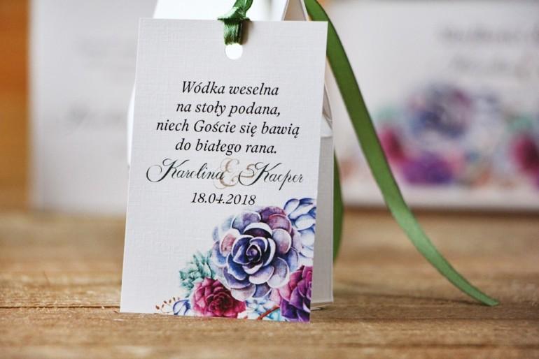 Zawieszka na butelkę, wódka weselna, ślub - Akwarele nr 1 kwiatowe - Sukulenty