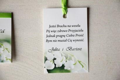 Kwiatowe Zawieszki na butelki weselne, delikatna grafika z konwaliami
