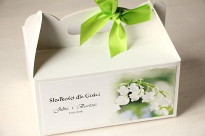 Kwiatowe Pudełko na Ciasto weselne, grafika z konwaliami