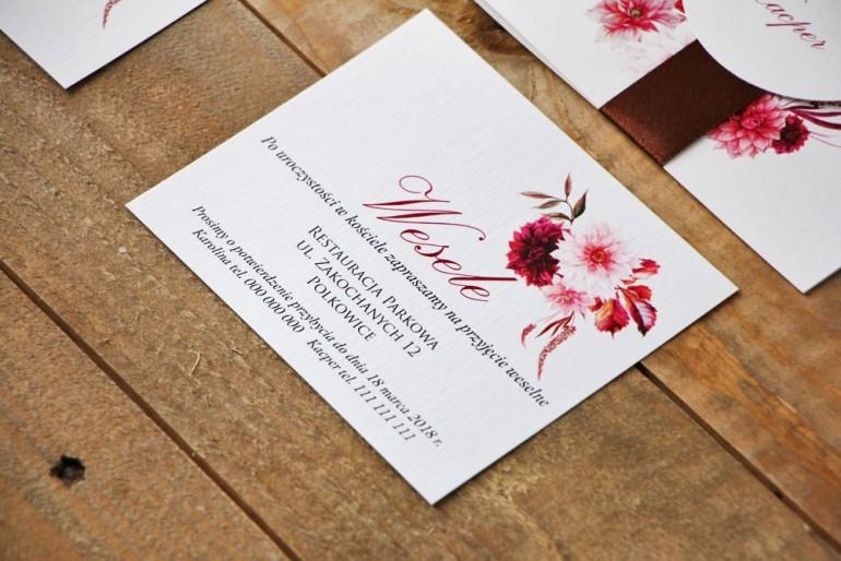 Bilecik do zaproszenia 120 x 98 mm prezenty ślubne wesele - Akwarele nr 2 - Dalie
