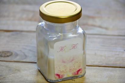 Świeczki - podziękowania i upominki dla gości weselnych. Elegancki wzór piwonii w delikatnych barwach jasnego różu