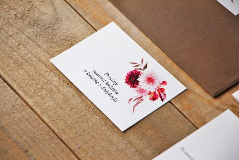 Bilecik do zaproszenia 105 x 74 mm prezenty ślubne wesele - Akwarele nr 2 - Dalie