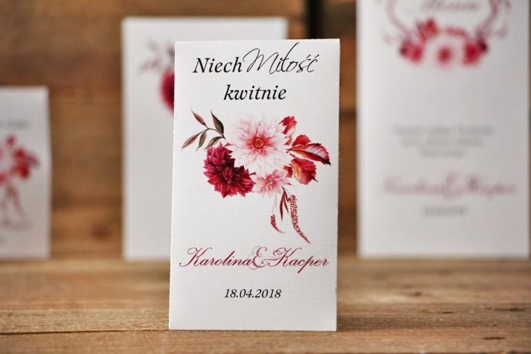 Podziękowania dla Gości weselnych - nasiona Niezapominajki - Akwarele nr 2 - Dalie w odcieniach bordo i jasnego różu