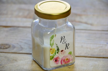 Świeczki - podziękowania i upominki dla gości weselnych, ślubnych. Delikatny kwiatowy wzór z różami