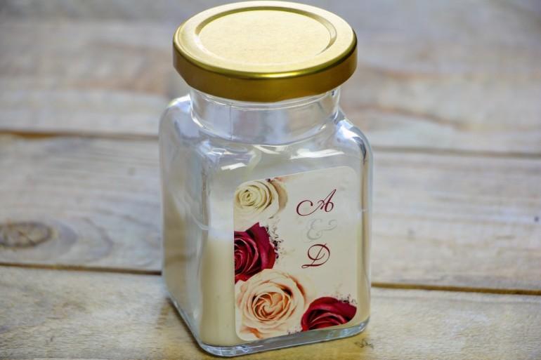 Świeczki - nowe podziękowania i upominki dla gości weselnych, ślubnych. Bordowa grafika z kremowymi i bordowymi różami