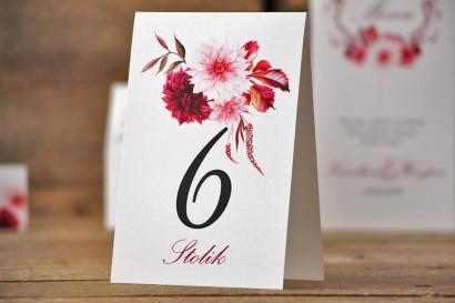 Numery stolików, stół weselny, ślub - Akwarele nr 2 - Chłodny fiolet, dalie