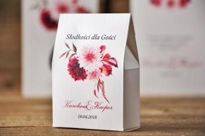 Pudełeczko stojące na cukierki, podziękowania dla Gości weselnych - Akwarele nr 2 - Dalie, fiolet, bordo, jasny róż