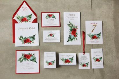 Zaproszenia ślubne ze złoceniem oraz czerwonymi różami i leśną paprocią. Złote zaproszenia ślubne - Cykade nr 2