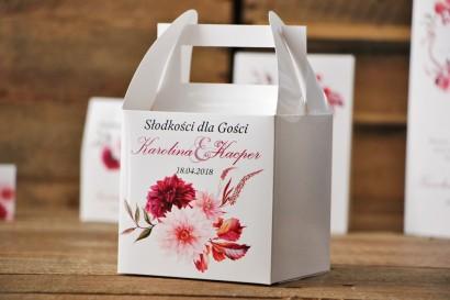 Pudełko na ciasto kwadratowe, tort weselny - Akwarele nr 2 - Dalie w odcieniach bordo i jasnego różu