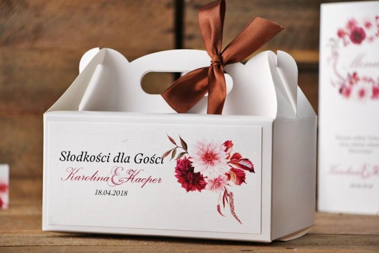 Prostokątne pudełko na ciasto, tort weselny, ślub - Akwarele nr 2 - Dalie w barwach bordo i jasnego różu